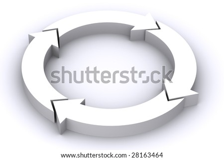 A 3D Rendered Image of White Circular Arrows