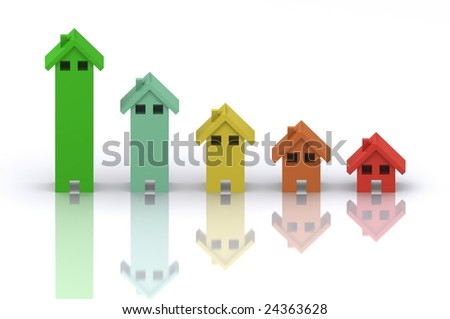 A 3d Rendered Image Portraying Bankruptcy and a slump in the housing market - stock photo