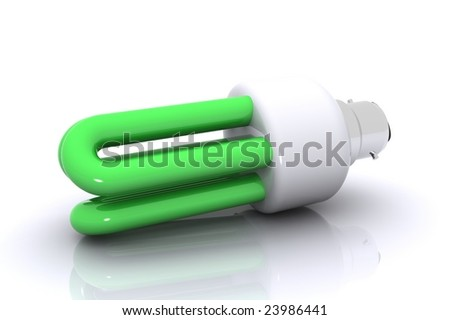 A 3D Rendered Image showing a 'Green' Energy Saving Bulb
