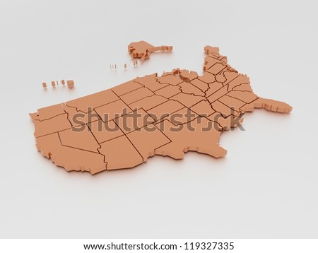 a 3D rendered map of USA