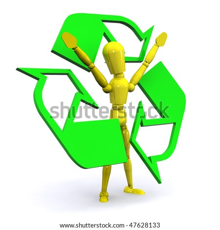 A 3d Rendered Recycle Man Illustration