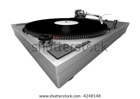 A 3d rendered technics-style turntable, playing a white label record, isolated on white background.