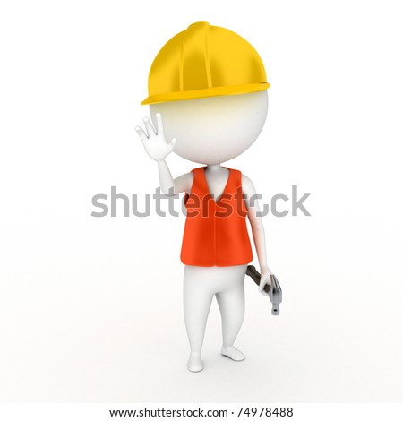 a 3d renderend illustration of a little construction guy