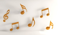 A 3D rendering illustration of yellow music notes on a white background