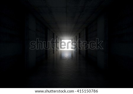 A 3D rendering of a distant look down a dark stadium sports tunnel to enter a lit arena in the distance #415150786