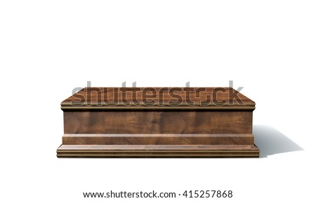 A 3D rendering of an empty wood and brass trophy base on an isolated white studio background