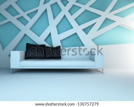 A 3D rendering of light blue sofa