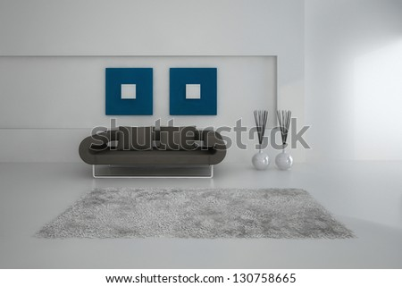 A 3D rendering of minimalist living room