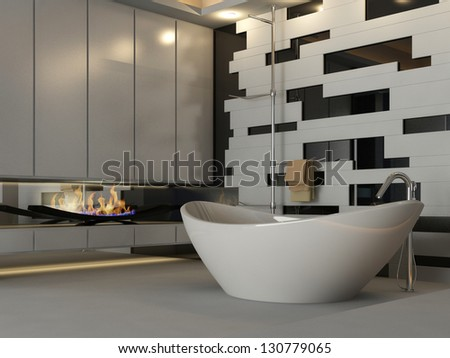 A 3D rendering of modern bathroom interior with fireplace