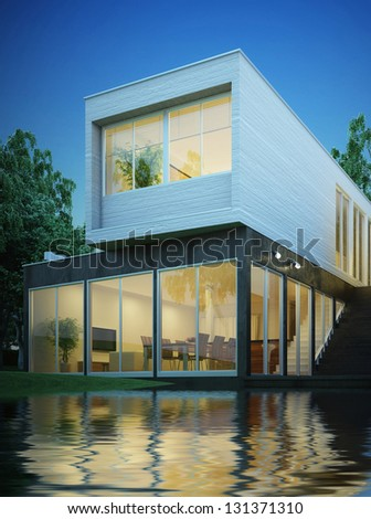 3d Rendering Of Modern House At Night Stock Photo 131371310