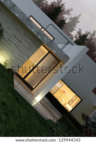 A 3D rendering of modern house exterior with lawn