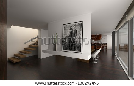 A 3D rendering of modern interior