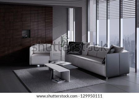 A 3D rendering of modern living room