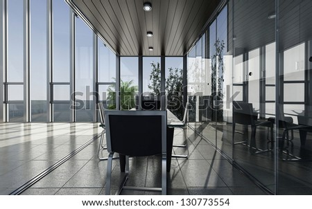 A 3D rendering of modern meeting room