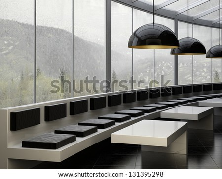 A 3D rendering of modern restaurant interior