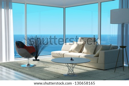 A 3D rendering of sunny living room interior #130658165