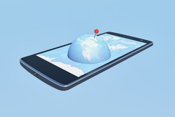 A 3D rendering of the globe with a pointer appearing on a mobile phone screen