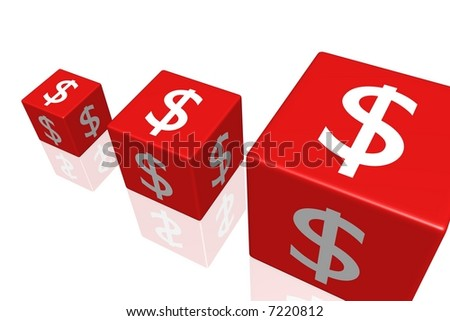 A 3d rendering of three red dice, with white currency symbol on the sides, of increasing size over a reflective white surface.