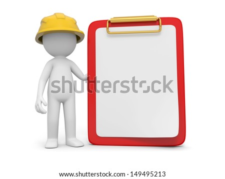 A 3d safety worker standing besides a message board