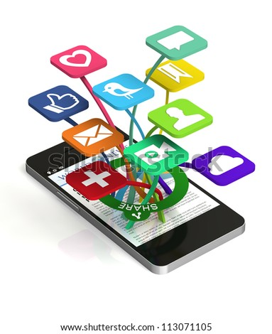 A 3D smart phone sharing a web page with social media applications popping out of the front of the device