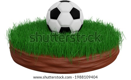 A 3D Soccer Ball on The Grass. A ball is a round object with various uses. It is used in ball games, where the play of the game follows the state of the ball as it is hit, kicked or thrown by players. Stockfoto ©