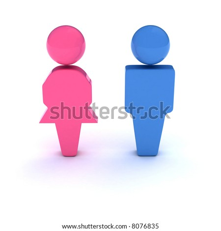 A 3d symbol of a couple (Bathroom signs, Heterosexual couple, Gender, etc) #8076835