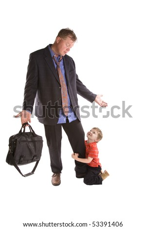 A dad needs to go to work and his child won't let him go.