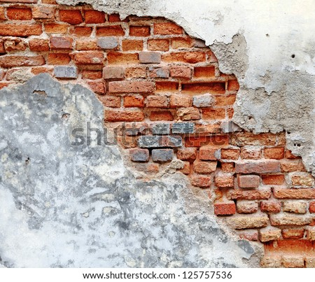 A damaged red clay brick wall with blank space for text as textural background.