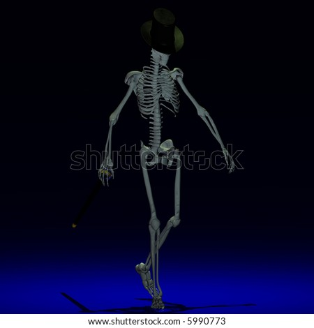 A dancing Skeleton with hat and stick - very stylish With Clipping Path / Cutting Path - stock photo