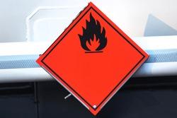 a danger flammable sign on an fuel truck