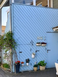 A Danish house in pastel blue color and filled with different flower pots.