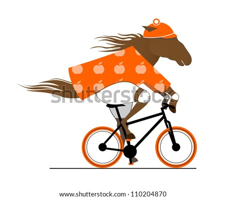 A Dappled Horse Riding a Bicycle. Cycle Caricature. Funny vector  illustration of a cycling horse. Raster variant.