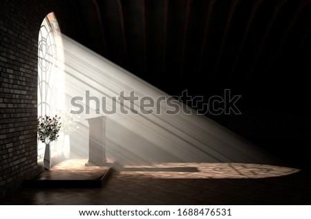 A dark church interior lit by suns rays penetrating through a glass window in the pattern of a crucifix shining on a speech pulpit - 3D render Zdjęcia stock ©