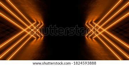 A dark corridor lit by colorful neon lights. Reflections on the floor and walls. Empty background in the center. 3d rendering image.