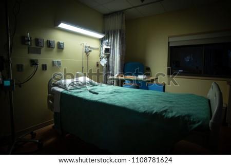 A dark, empty hospital room