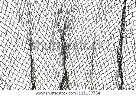 A dark green fishing net against a white background. - stock photo