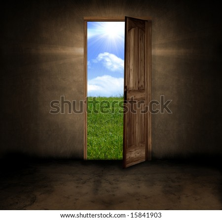 A dark grungy room with a door opening to a beautiful Summer day - stock photo