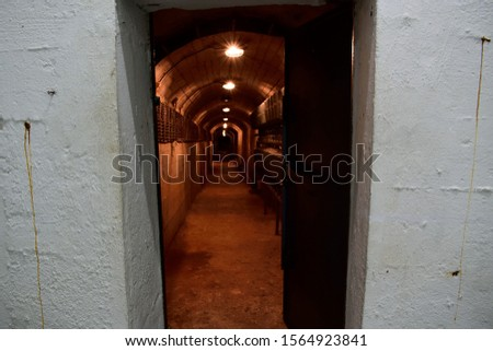 A dark passageway inside an underground bunker in Bosnia-Herzegovina #1564923841