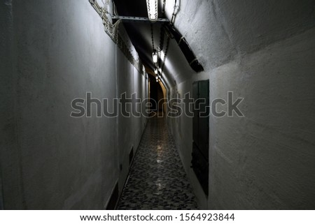 A dark passageway inside an underground bunker in Bosnia-Herzegovina #1564923844