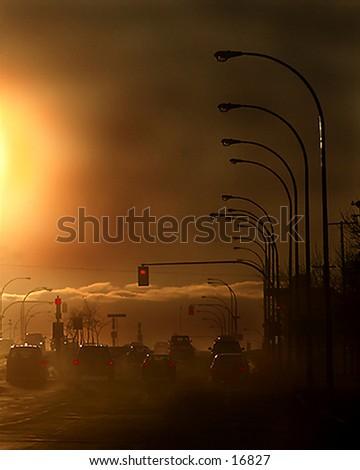 A dark pollution city image.