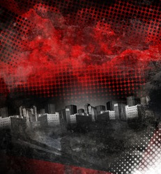 A dark red and black grunge city with aged texture. Add your text in the copyspace.