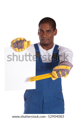 A dark-skinned worker holding a blank contract. All on white background. - stock photo