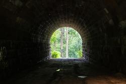 A dark stone tunnel under a bridge in the forest.