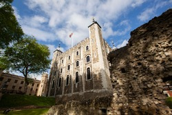 a day at tower of london with blue sky background