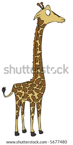 A dazed cartoon giraffe.