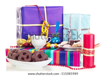 A decorated table for christmas eve - stock photo