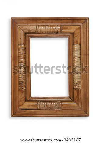 A decorative bamboo photo frame over white