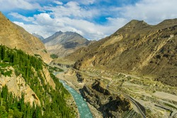 A deep and blue water river in the Karakoram mountains in Hunza Valley.