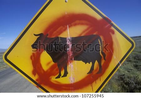 A defaced roadside sign