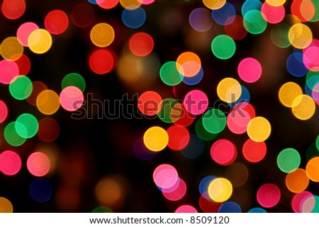 A defocused shot of Christmas lights.